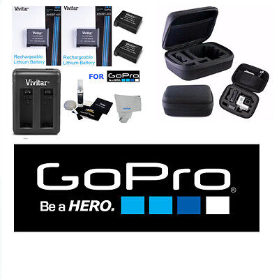 Battery for GoPro HD Hero4 2 Pcs AHDBT 401+ DUAL RAPID CHARGER + HARD CASE