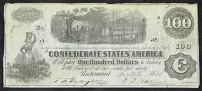1862 Confederate States of America One Hundred Dollar Note 9236