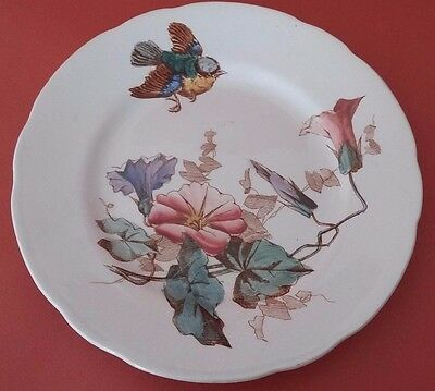 Rare Antique French Majolica Plate Of Choisy Le Roi - Bird And Flowers Decor