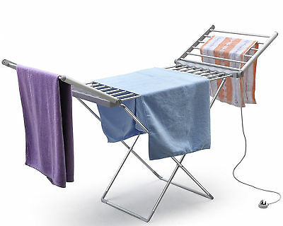 Heated Folding Clothes Drying Horse Rack Airer Dryer Washing Dry Laundry Stand