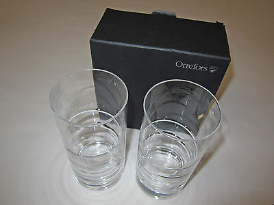 Orrefors 6719582 Swerve Tumbler Pair of 2 Clear Crystal Bar Glasses New in Box