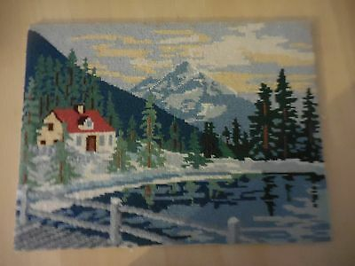Tapestry Wall Picture Completed Mountain Lake