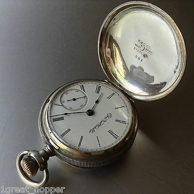 Elgin National Watch Company Sterling Silver Pocket Watch Lever Set Cased Nicely