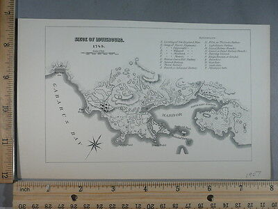 Rare Antique Orig VTG 1907 Siege Of Louisbourg 1745 Map Illustration Art Print