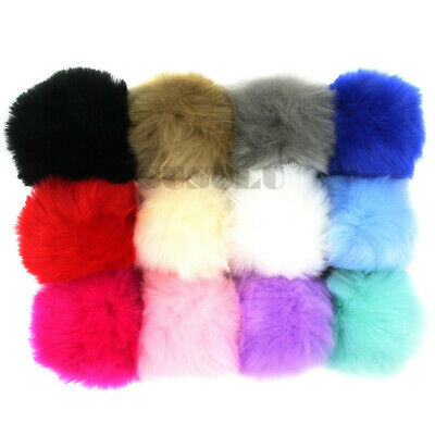 DIY 12x Faux Fur 9CM Rabbit Fur Fluffy Pom pom Ball for Hat Accessories 19Colors