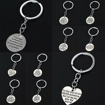 Holiday Gifts Family Love Silver Plated Keyring Heart Round Fashion Love Bag Hot