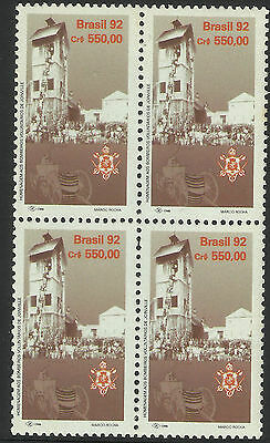 BRAZIL 1992 FIRE SERVICE ANNIV 1v BLOCK OF 4 MNH