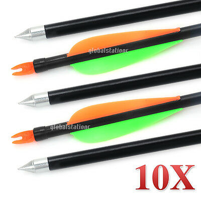 "10pcs 32"" FiberGlass Arrows 15-80lb Compound Bow Fiber Glass For Archery Hunting"