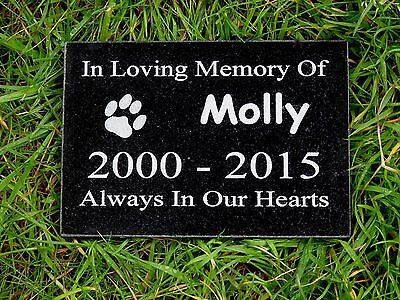 Personalised Engraved Pet Dog or Cat Memorial Plaque Natural Granite 15 x 10cm