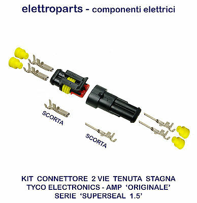 Connettore Stagno A 2 Vie Kit Maschio Femmina Amp-Superseal X Moto Auto Nautica