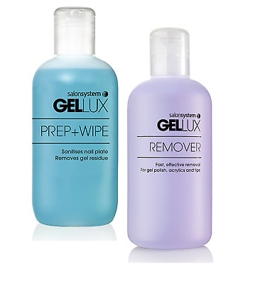Gellux Uv Led Gel Nail Polish Prep + and Wipe + Nail Gel Remover Acetone 250ml