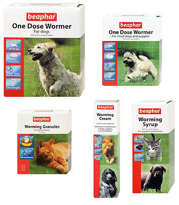 Beaphar Cat Dog Worming Syrup Tablets Cream One Dose Wormer