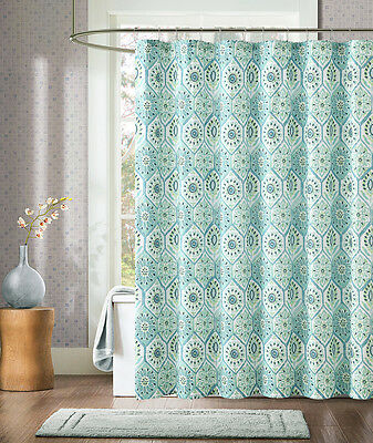 Threshold Stitch Ogee Embroidered Fabric Shower Curtain 72x72 blue ...