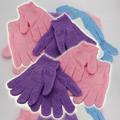 Exfoliating Gloves Shower Bath Mitt Scrub Tan Dead Skin Removal Body Massage Spa
