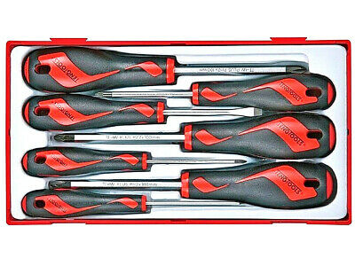 Teng Tools Screwdriver Set 7 Pieces With Slotted Flat Phillips Pozi + TOOL TRAY