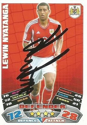 A Topps Match Attax card Lewin Nyatanga at Bristol C. Personally signed by him.