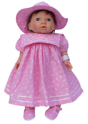 PINK BUNNY DRESS AND HAT SET  FOR MY FIRST BABY ANNABELL DOLL 34cm FRILLY LILY