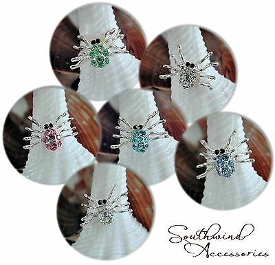 Spider Toe Ring On A Stretch Illusion Band Your Choice In Color Of Crystals
