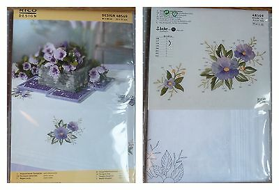RICO Pre-drawn TABLECLOTH EMBROIDERY KIT 100% cotton 80 x 80 cm VIOLETS