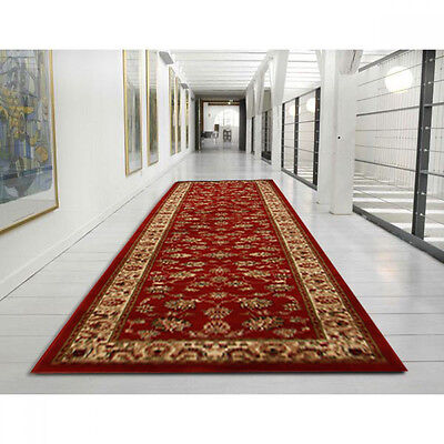 New Hall Runner Red Long Floor Rug Patterned Hallway Carpet Traditional Rugs