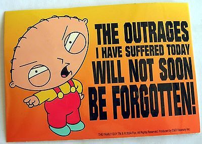 Family Guy Stewie Outrages sticker  Licensed