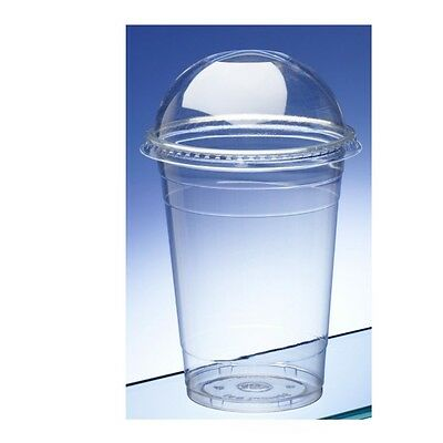 16Oz Medium Smoothie Cups With Domed Lids Clear Plastic Party Milkshake Cup Lid