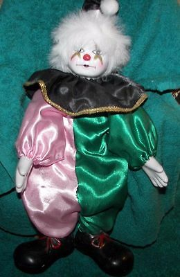 """NEW 12"""" Pierrot Accents Clown/Jester Porcelain Harlequin Doll NEW *"""