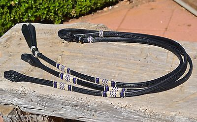 "Jose Ortiz 5/8"" Black Basket Tooled Romel Reins Natural & Purple Rawhide"