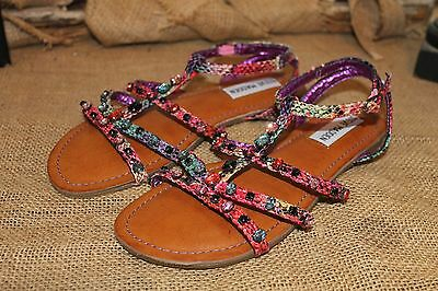Girl/'s Kids/' Black Silver Multi Color Jeweled T-Strap Flat Sandals Size 9-4 br