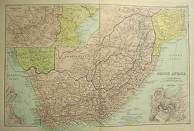 1905 Antique Map South Africa Cape Colony Transvaal Cape Town Environs Zululand