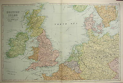 1905 Antique Map ~ British Isles Ireland Scotland England Wales Steamer Routes