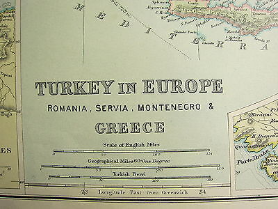 1905 Antique Map Turkey In Europe Greece Romania Athens Constantinople Bosporus