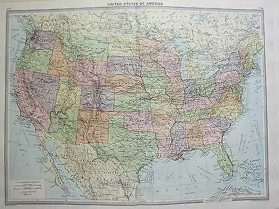 1920 Large Map ~ United States Of America Florida Nevada New Mexico Iowa Kansas