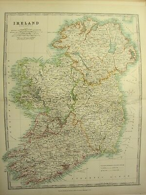 1896 Large Victorian Map ~ Ireland Tyrone Cork Londonderry Galway Kerry Wicklow
