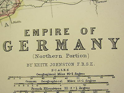 1896 Large Victorian Map ~ Empire Of Germany Northern Portion Hanover Saxony