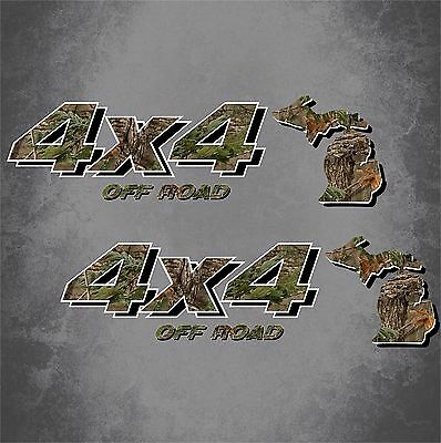 4x4 Truck Off Road Michigan Hunting Deer Camo Decal Ford Chevy GMC Dodge Toyota