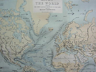 c1870 MAP ~ THE WORLD NATURAL DIVISIONS OF LAND OCEAN CURRENTS MOUNTAIN