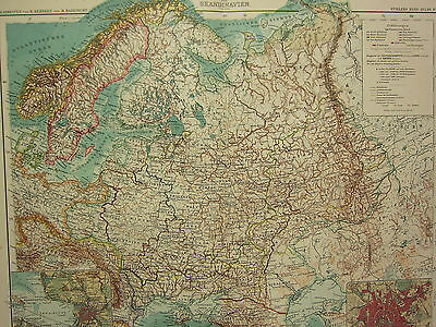 1907 Dated Map ~ Russia With Scandinavia ~ Poland Finland St Petersburg Environs