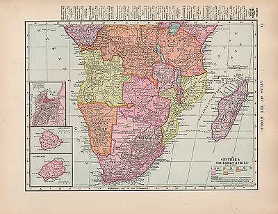 1909 Map ~ Central & Southern Africa ~ Cape Of Good Hope Madagascar Cape Town