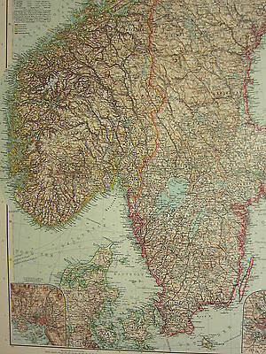 1907 Dated Map  ~ South Scandinavia Norway Sweden Christiania Environs Stockholm