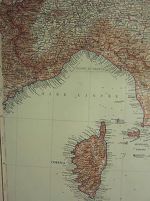 1907 Dated Map ~ North West Italy Corsica Tuscany Genova Piedmont Lombardy