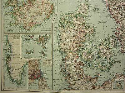1907 Dated Map ~ Denmark Iceland Faroe Copenhagen City Plan Greenland Schleswig