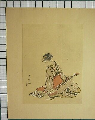c1830 ANTIQUE PRINT ~ HAND-MADE PAPER GEISHA JAPANESE PLAYING SHAMISEN