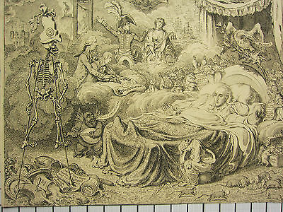 c1825 ANTIQUE PRINT ~ JAMES GILLRAY POLITICAL CARTOON ETCHING ~ DOUBLE SIDED