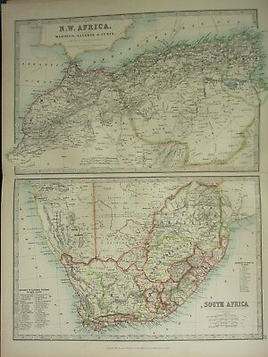 1896 Large Victorian Map ~ North West Africa & South Africa With Electoral Div