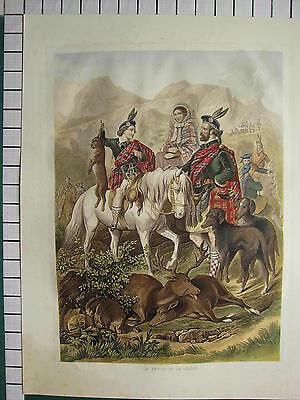 c1880 LARGE ANTIQUE PRINT FRENCH KRONHEIM  LE RETOUR DE LA CHASE SCOTTISH