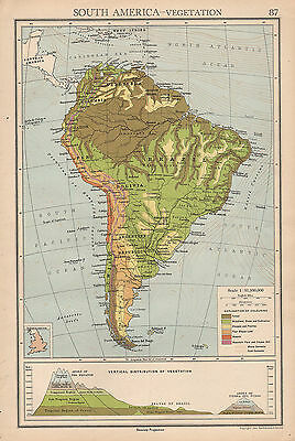 1942 MAP ~ South America Vegetation Andes Mountain Heights ...