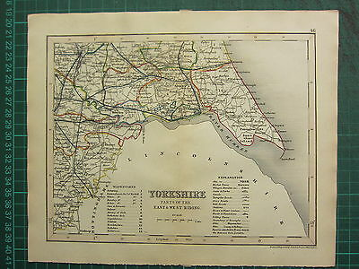 c1835 ANTIQUE COUNTY MAP ~ YORKSHIRE EAST & WEST RIDING ~ HAND COLOURED