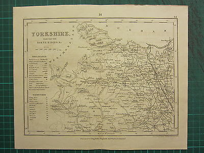 c1835 ANTIQUE COUNTY MAP ~ YORKSHIRE ~ WESTERN SECTION OF NORTH RIDING THIRSK
