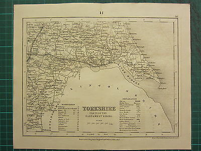 c1835 ANTIQUE COUNTY MAP ~ YORKSHIRE ~ PARTS OF EAST & WEST RIDING YORK HORNSEA